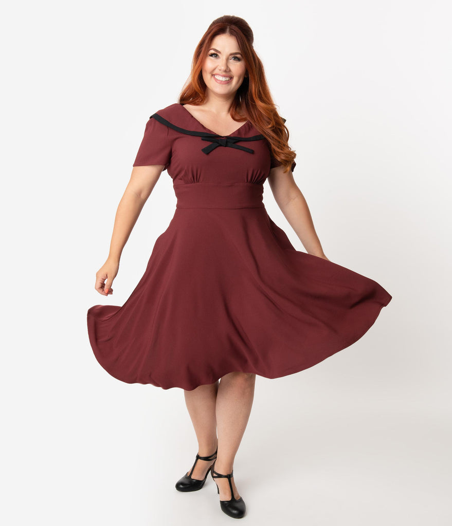 Hell Bunny Plus Size 1950s Burgundy Red Nautical Thea Swing Dress