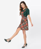 Hell Bunny Orange & Green Plaid Oktober Pinafore Skirt