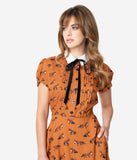 Hell Bunny 1960s Rust Orange Fox Print Vixey Fit & Flare Dress