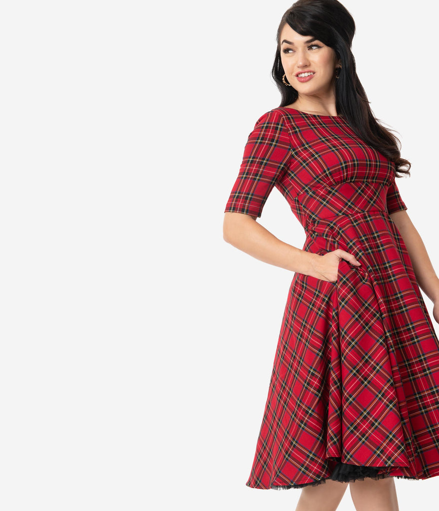 Hell Bunny 1950s Style Red & Black Plaid Irvine Swing Dress