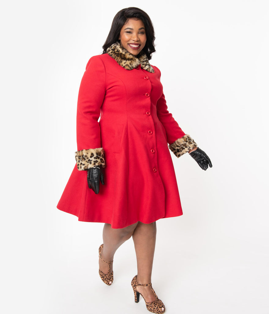 Hell Bunny Plus Size Red & Leopard Fur Robinson Princess Coat