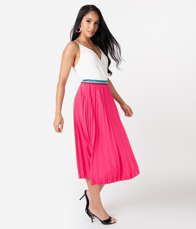 Vintage Style Fuchsia Pink Pleated Rainbow Midi Skirt