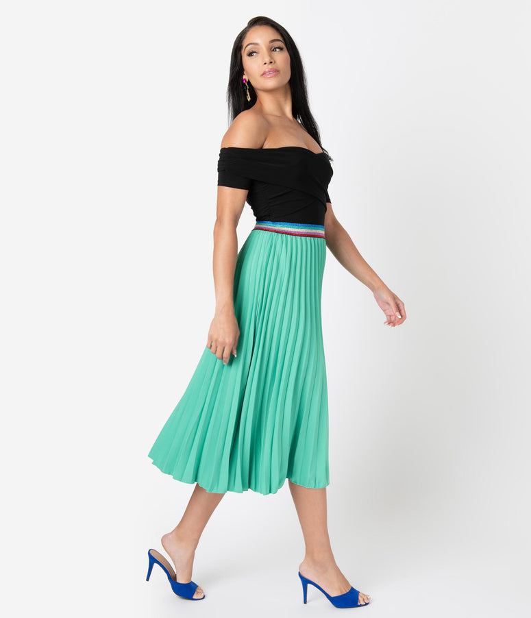 Vintage Style Green Pleated Rainbow Midi Skirt
