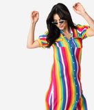 Retro Style Rainbow Stripe Button Up Maxi Shirt Dress