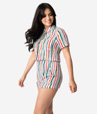 Retro Style Multicolor Stripe Button Up Short Sleeve Romper
