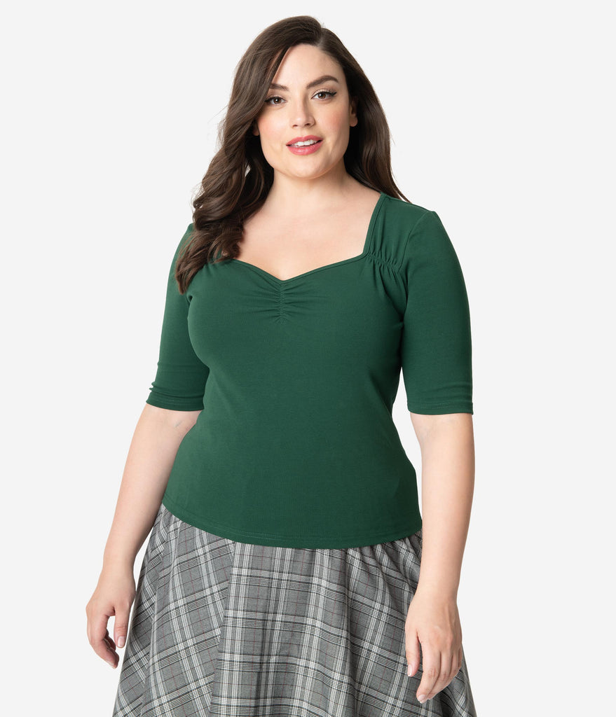 Hell Bunny Plus Size Emerald Green Cotton Sweetheart Phillipa Top