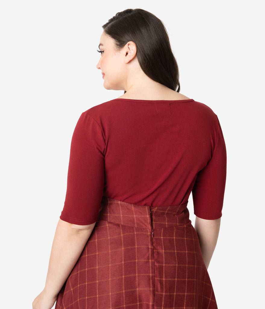 Hell Bunny Plus Size Burgundy Red Cotton Sweetheart Phillipa Top