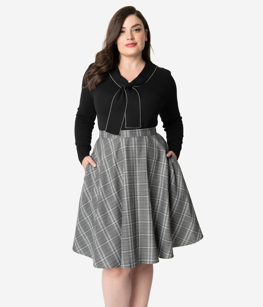 Hell Bunny Plus Size 1950s Grey Sparkle Plaid High Waist Frostline Swing Skirt