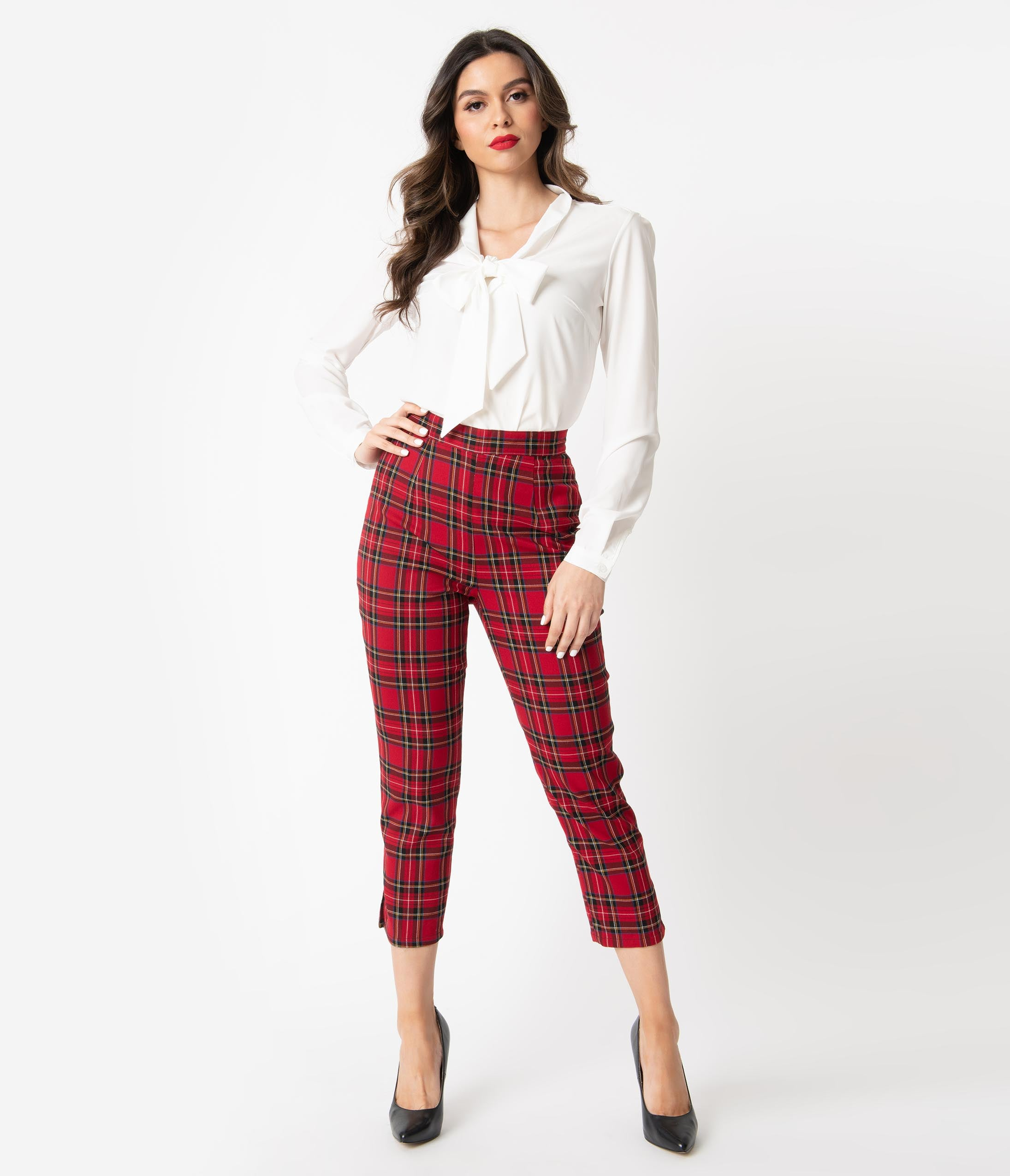 1950s Pants History for Women Hell Bunny 1950S Red Plaid Irvine Cigarette Capris $48.00 AT vintagedancer.com