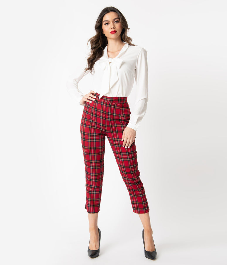 Hell Bunny 1950s Red Plaid Irvine Cigarette Capris