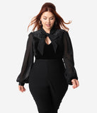 Hell Bunny Plus Size 1950s Black Velvet & Chiffon Long Sleeve Gabriella Blouse