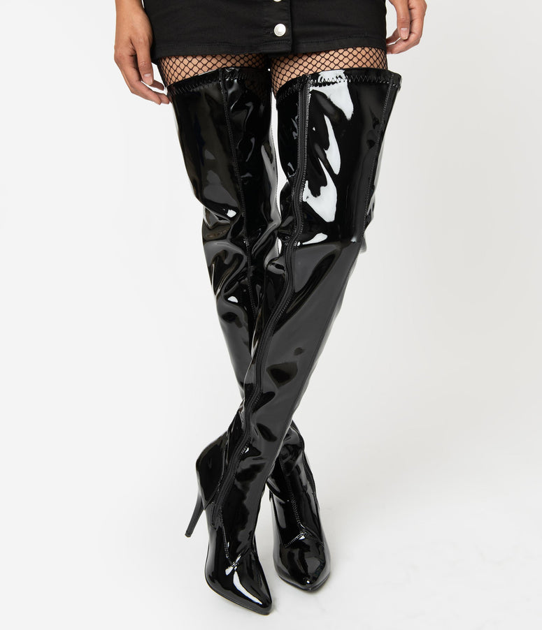 Black Patent Leatherette Stiletto Thigh High Boots