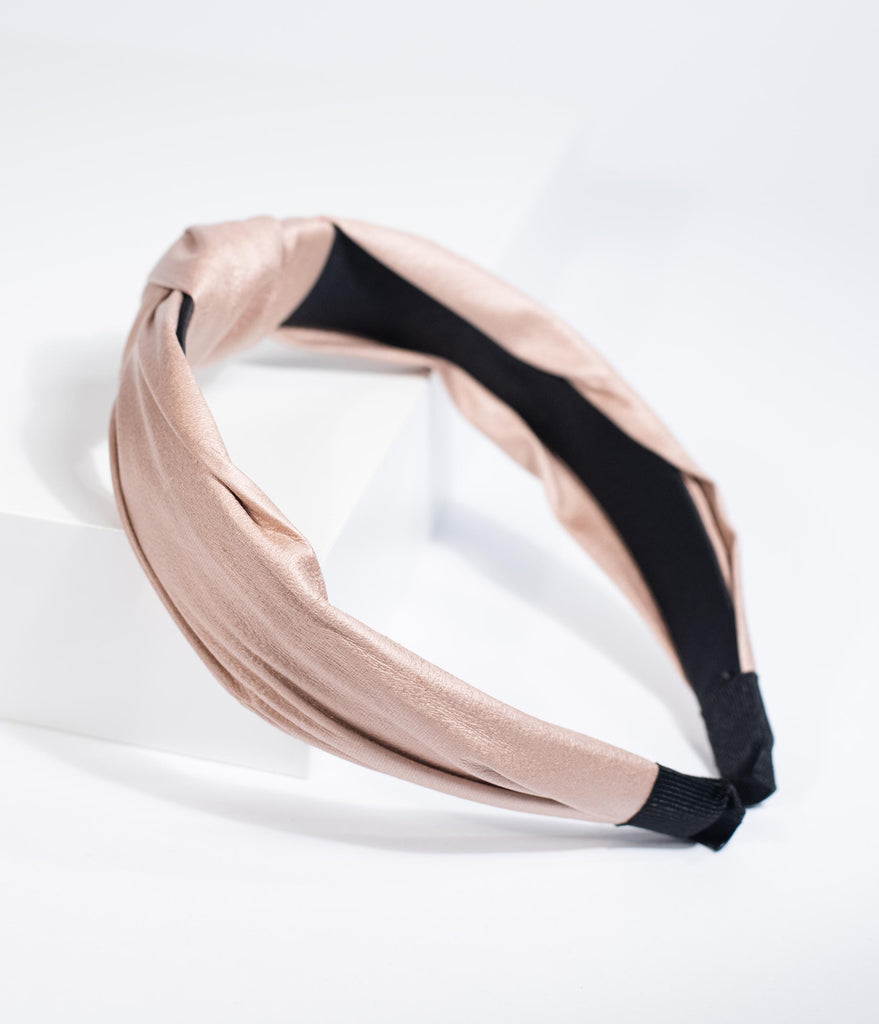 Retro Style Beige Leatherette Fabric Covered Headband