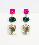 Pink, Green & Ivory Crystal Gem Drop Earrings