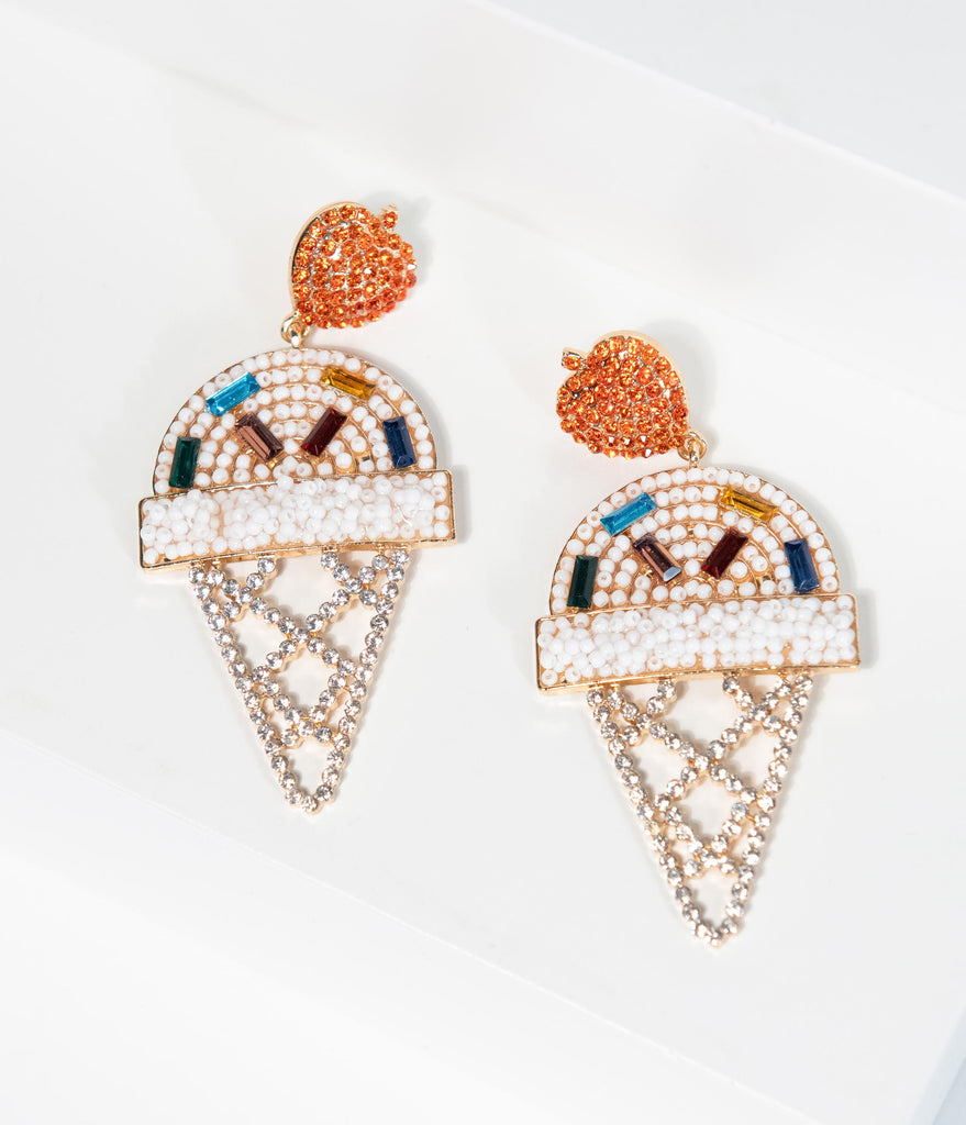 White Beaded & Rhinestone Ice Cream Cone Drop Earrings