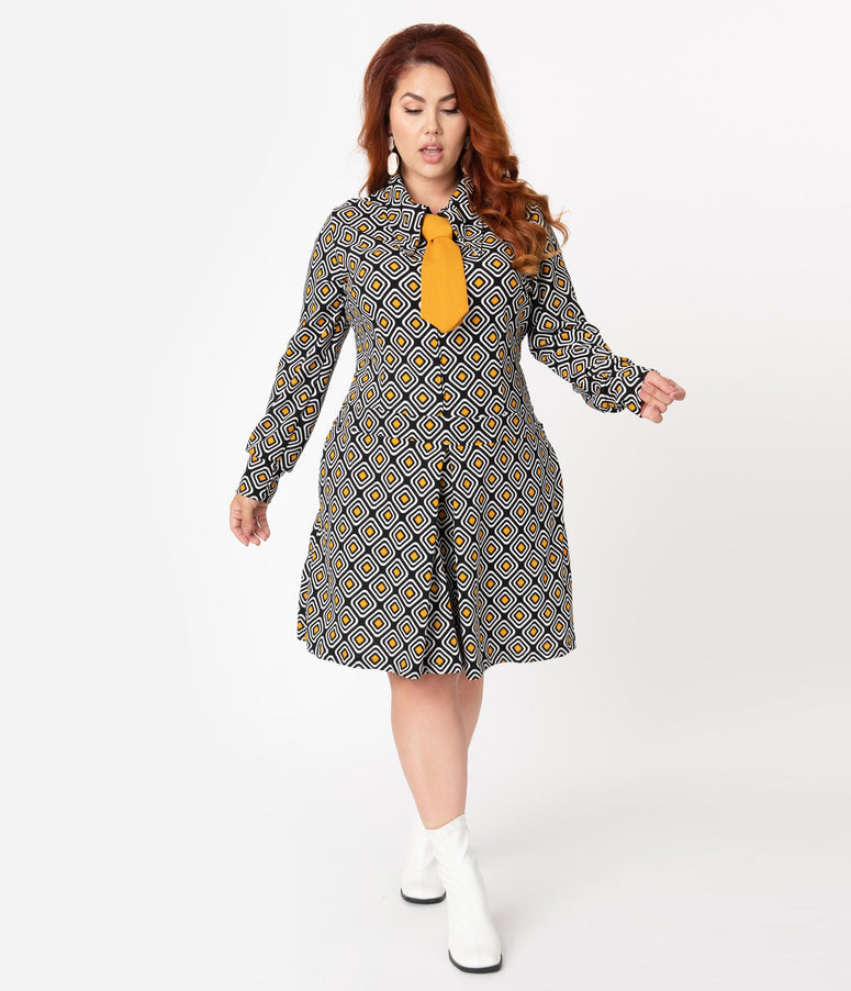 Retrolicious Plus Size 1960s Black & Mustard Retro Geo Print Fit & Flare Dress