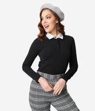 Retrolicious 1950s Black Long Sleeve Get Smart Collar Top