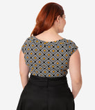 Retrolicious Plus Size 1960s Style Black & Mustard Retro Geo Print Boatneck Top