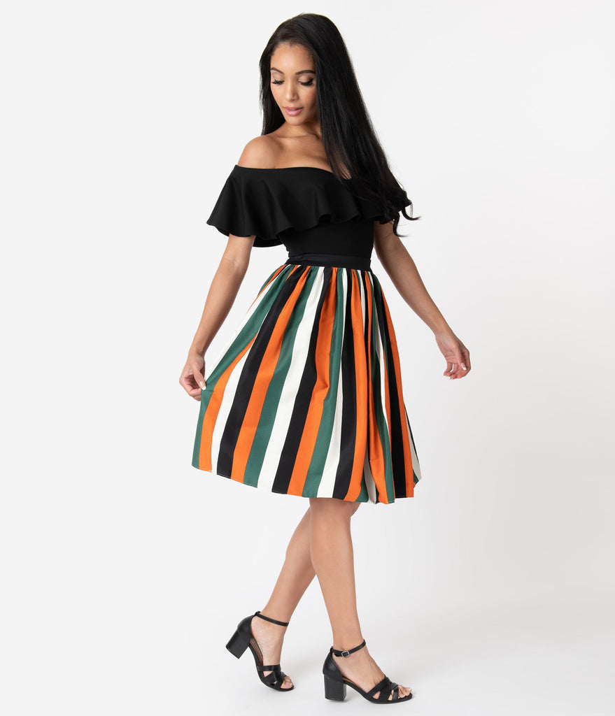 Collectif 1950s Style Pumpkin Stripe Jasmine Swing Skirt