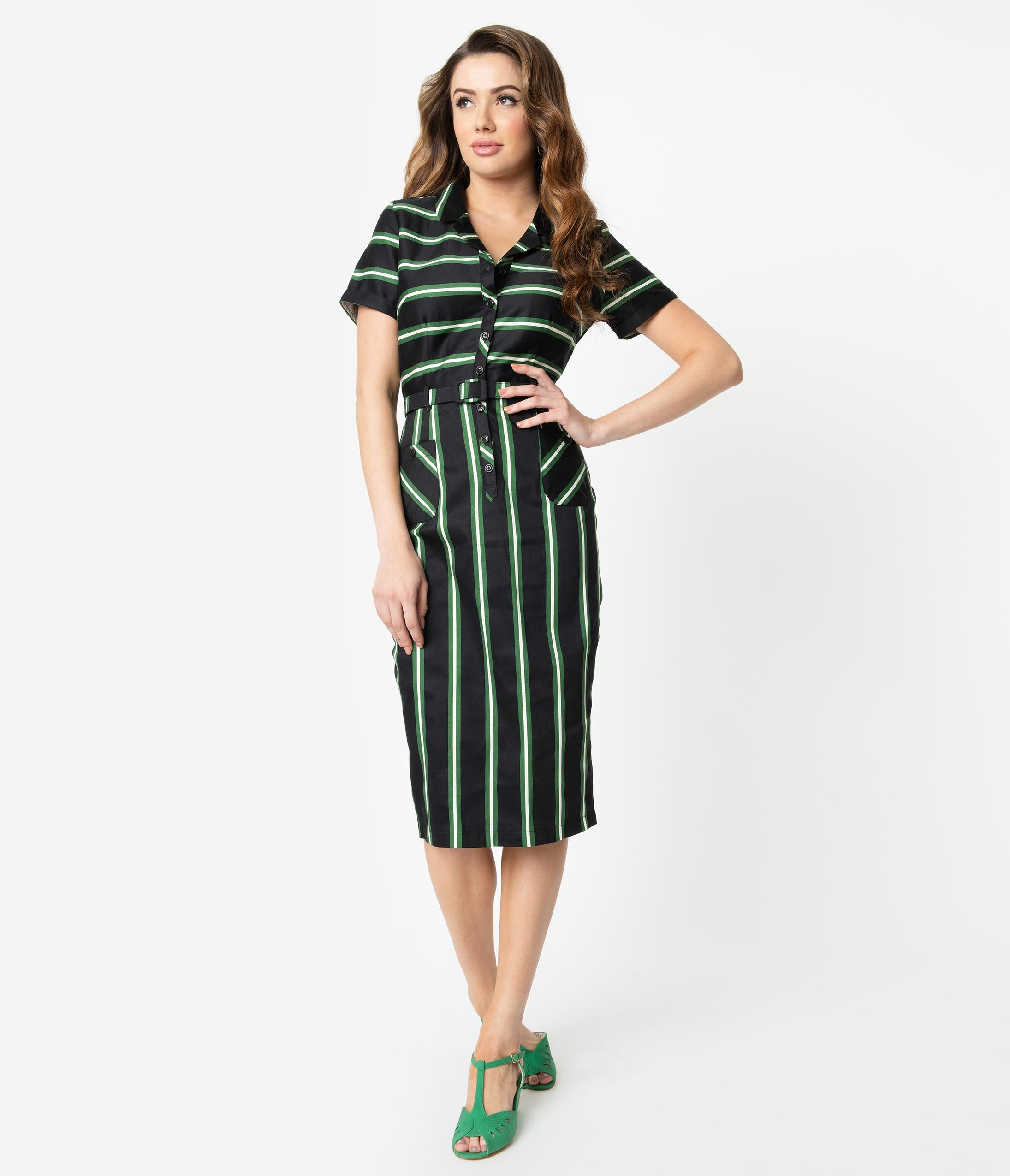Vintage Retro Halloween Themed Clothing Collectif 1960S Black  Green Witch Stripe Caterina Pencil Dress $78.00 AT vintagedancer.com