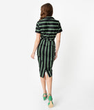 Collectif 1960s Black & Green Witch Stripe Caterina Pencil Dress