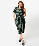 Collectif Plus Size 1960s Black & Green Witch Stripe Caterina Pencil Dress