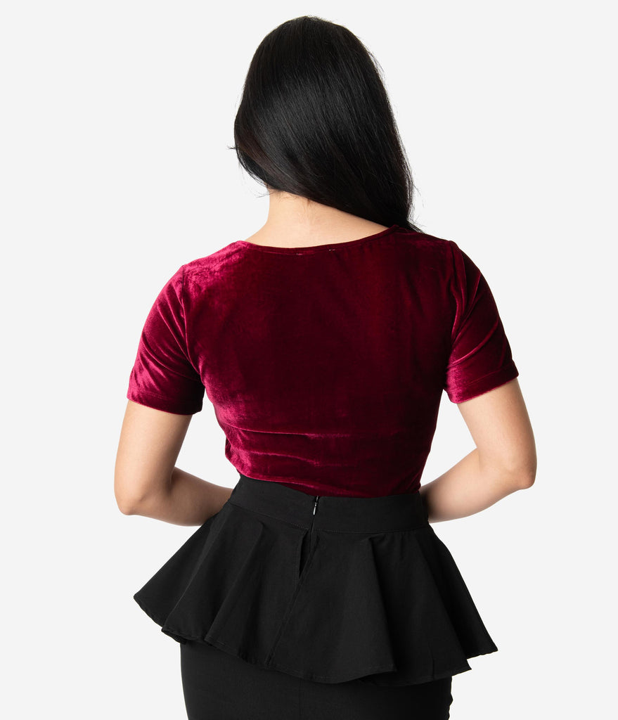 Unique Vintage Burgundy Velvet Sweetheart Ruthie Top