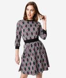 Unique Vintage 1960s Style Argyle Knit Sleeved Abigail Fit & Flare Dress