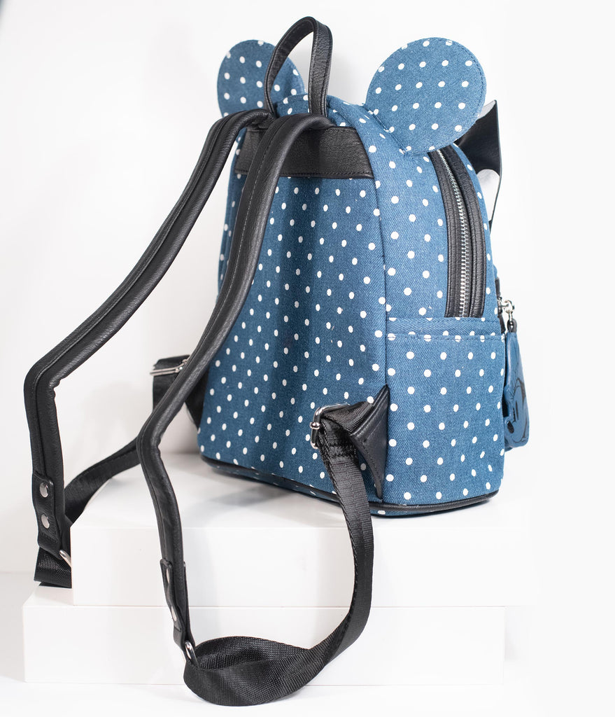 Loungefly Blue Denim & White Polka Dot Minnie Mouse Mini Backpack