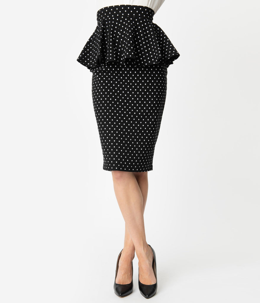 Unique Vintage 1940s Black & White Pin Dots Peplum Boulevard Pencil Skirt