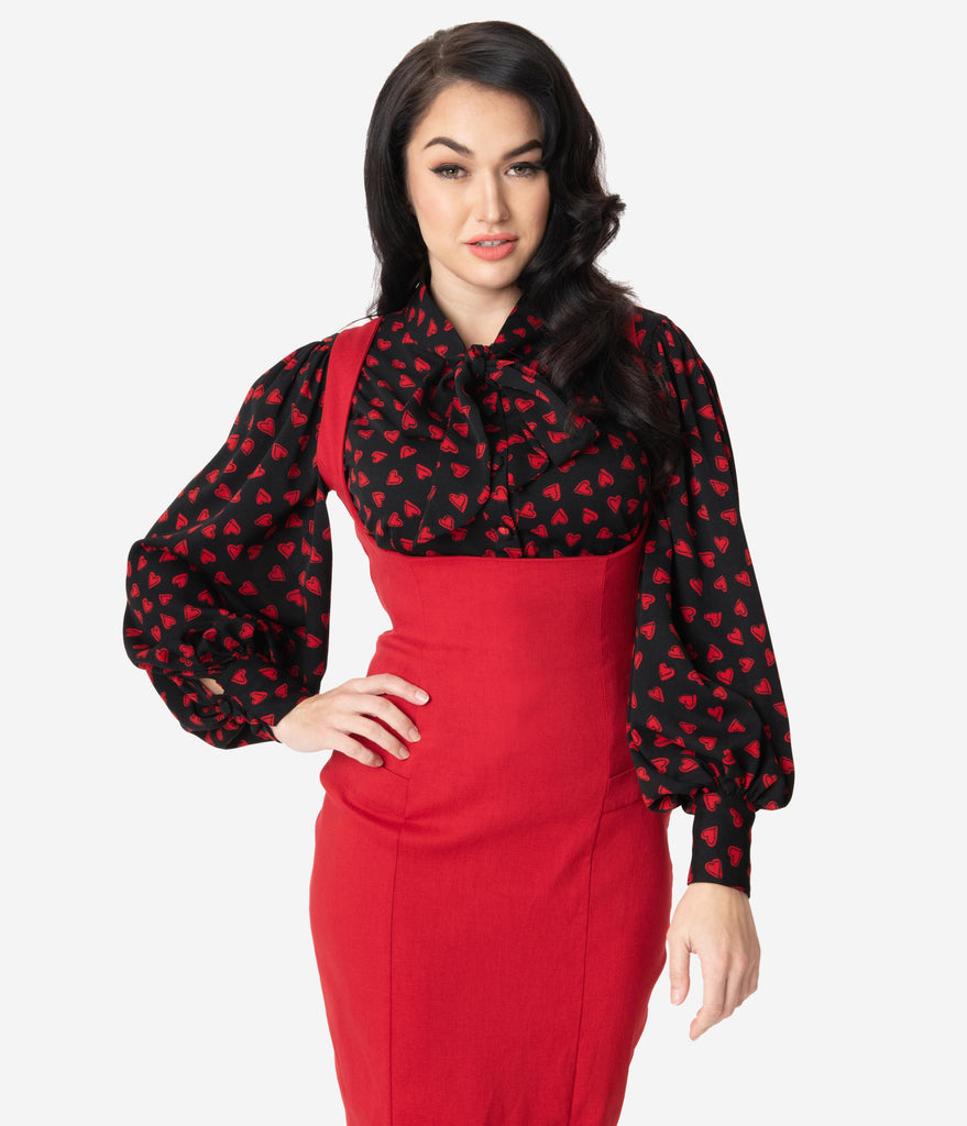 Unique Vintage Black & Red Heart Print Gwen Blouse