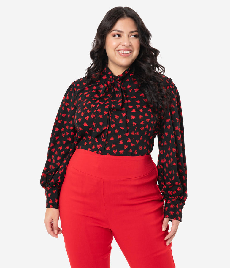 Unique Vintage Plus Size Black & Red Heart Print Gwen Blouse