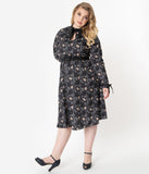 Unique Vintage Plus Size 1950s Black Elephant Print Vandella Swing Dress