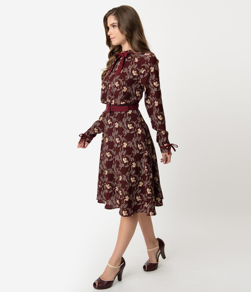Unique Vintage 1950s Style Burgundy Elephant Print Vandella Swing Dress