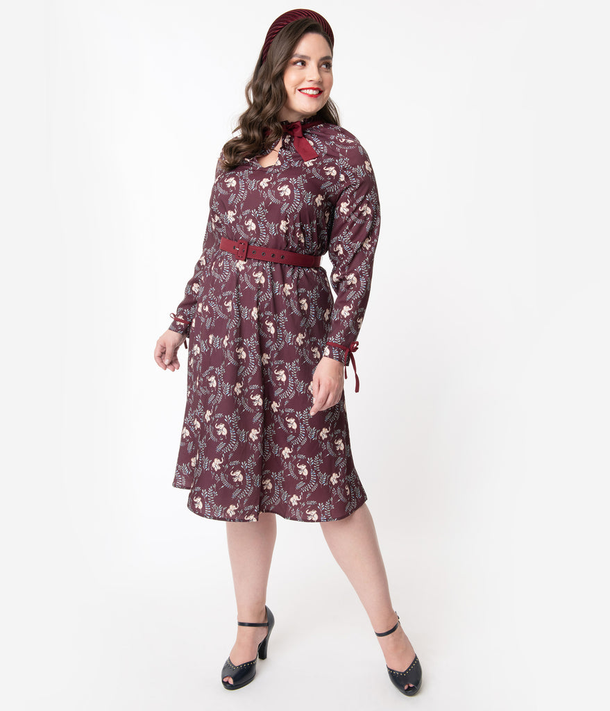 Unique Vintage Plus Size 1950s Burgundy Elephant Print Vandella Swing Dress