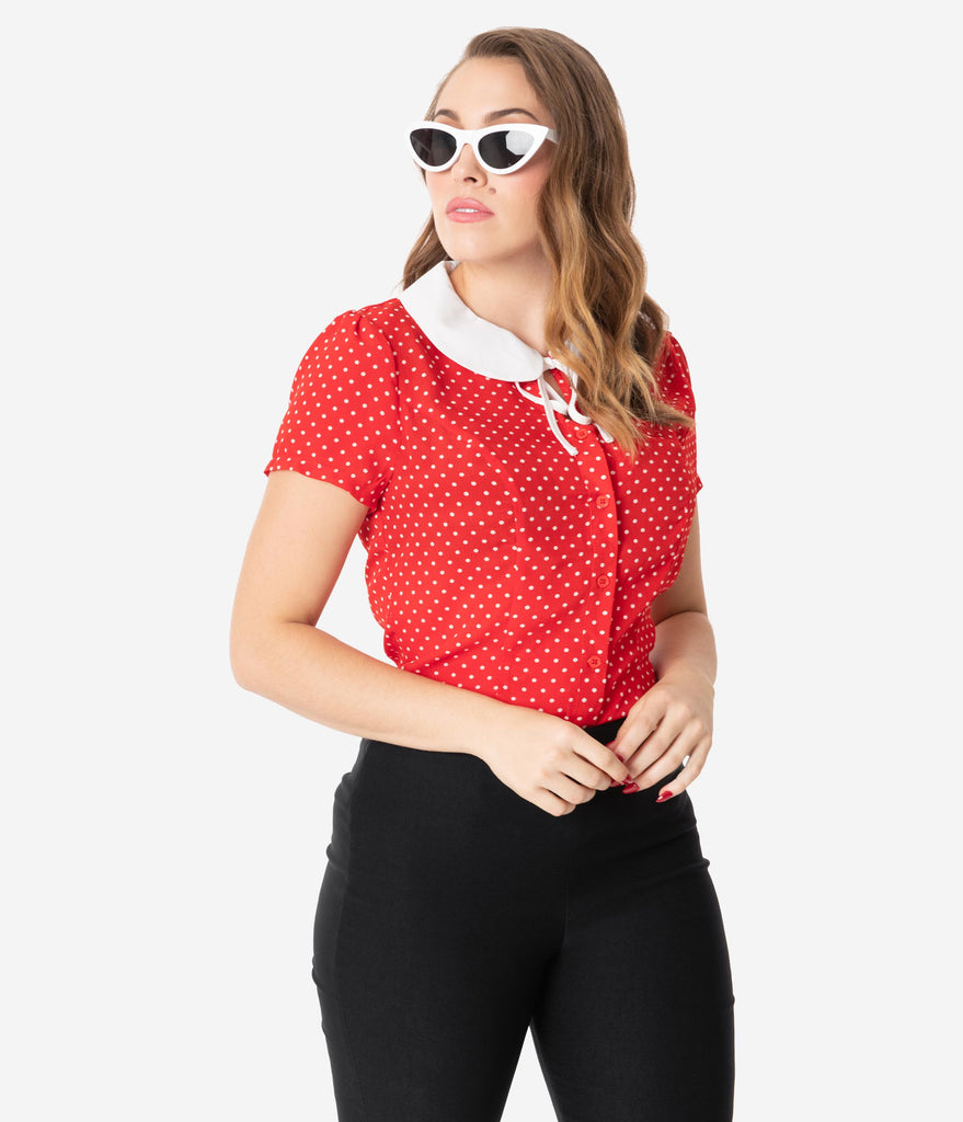 Unique Vintage 1950s Red & White Pin Dot Suzanne Blouse