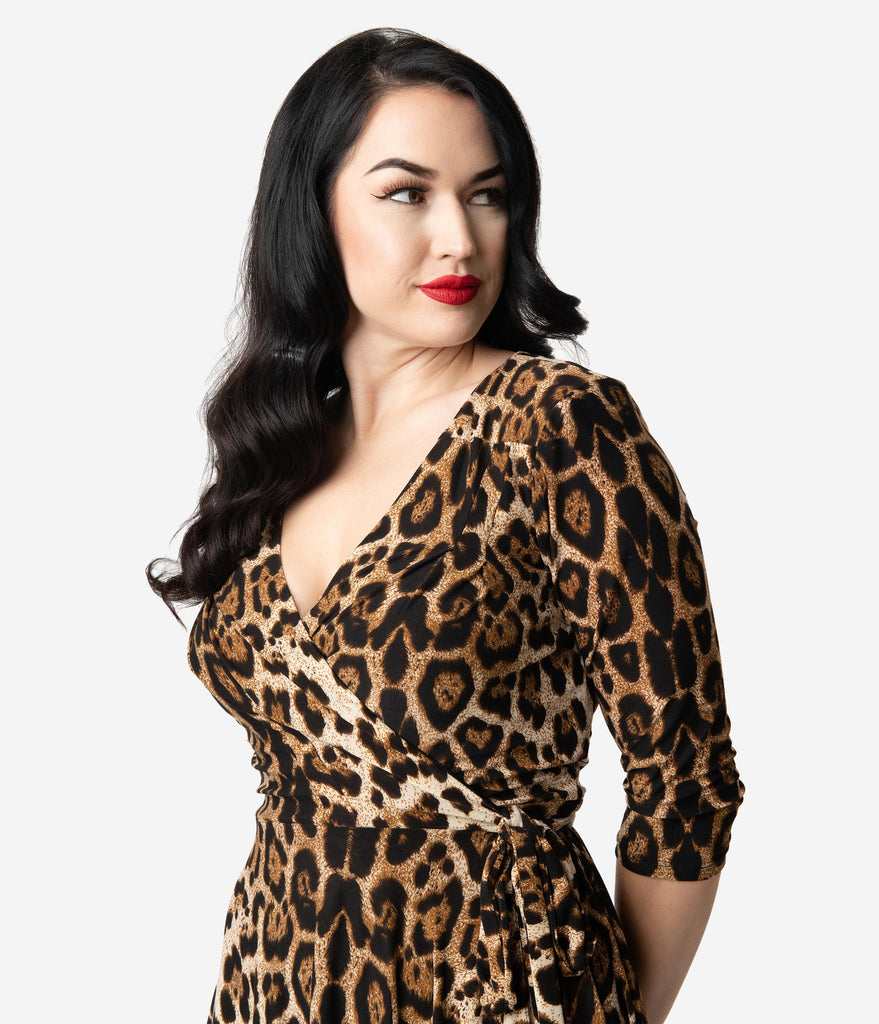 Unique Vintage Leopard Print Sleeved Kelsie Wrap Dress
