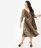 Plus Size V-neck Animal Leopard Print 3/4 Sleeves Pleated Vintage Wrap Knit Natural Waistline Swing-Skirt Dress
