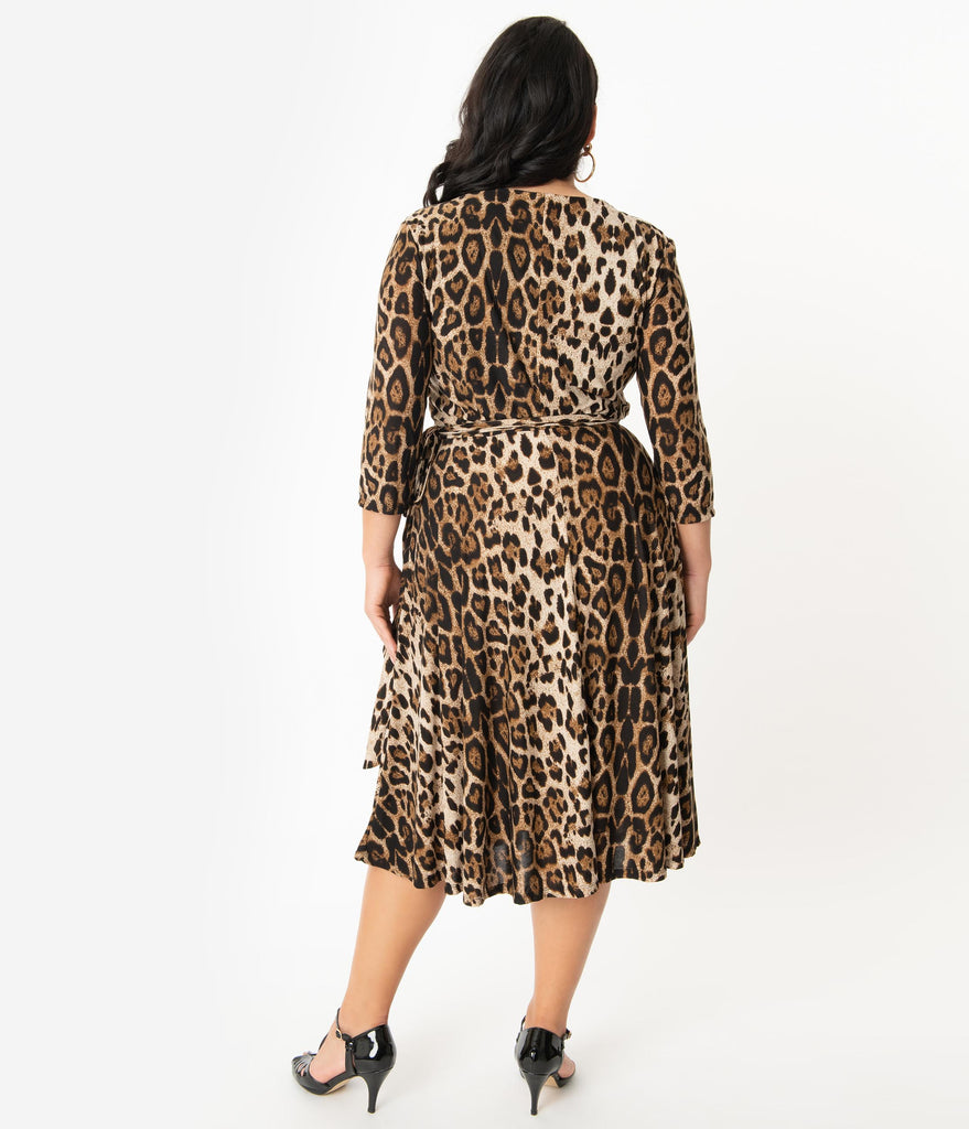 Unique Vintage Plus Size Leopard Print Sleeved Kelsie Wrap Dress