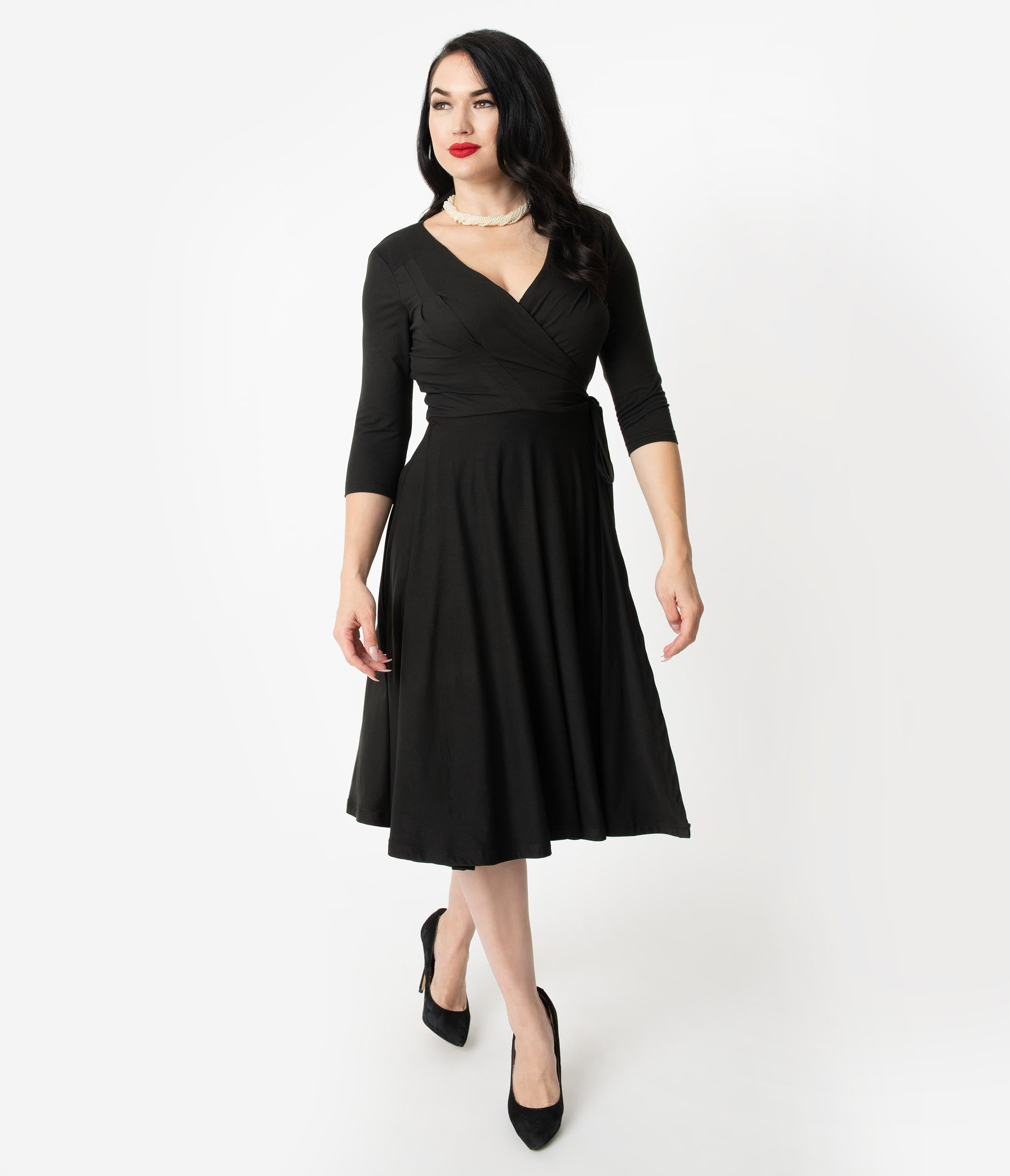 1940s Cocktail Dresses, Party Dresses Unique Vintage 1940S Style Black Sleeved Kelsie Wrap Dress $78.00 AT vintagedancer.com