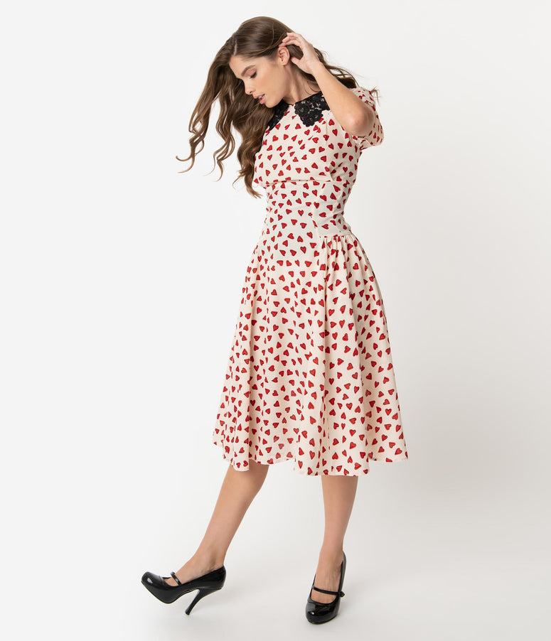 Unique Vintage 1940s Ivory & Red Heart Print Margie Dress