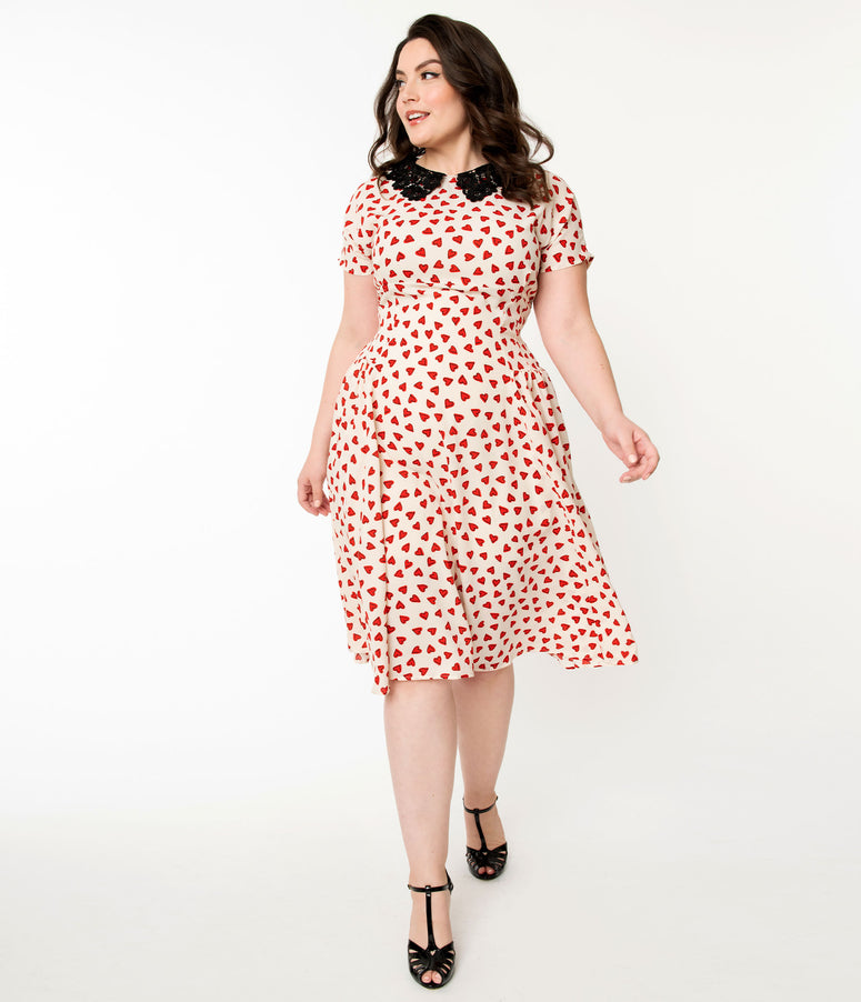 Unique Vintage Plus Size 1940s Ivory & Red Heart Print Margie Dress