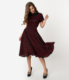 Unique Vintage 1940s Black & Red Heart Print Margie Dress