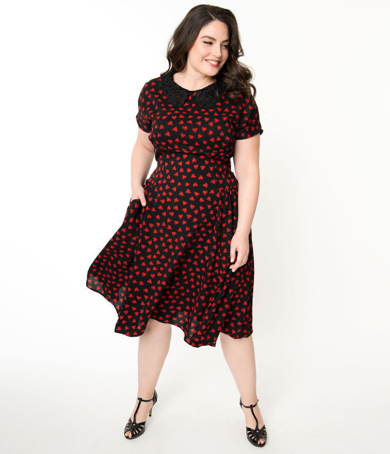 Unique Vintage Plus Size 1940s Black & Red Heart Print Margie Dress