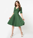 Unique Vintage 1950s Green & White Pin Dot Delores Swing Dress with Sleeves