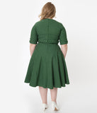 Unique Vintage Plus Size 1950s Green & White Pin Dot Delores Swing Dress with Sleeves