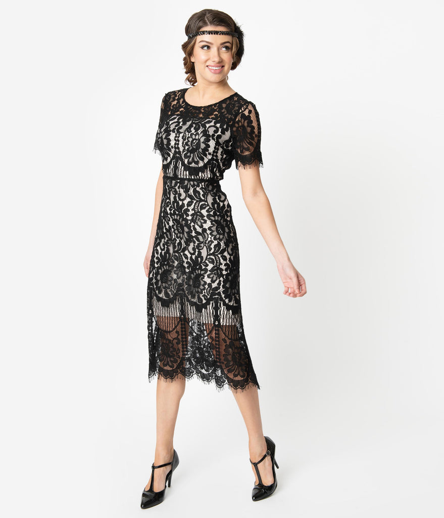 Unique Vintage 1920s Beige & Black Floral Lace Georgine Flapper Dress