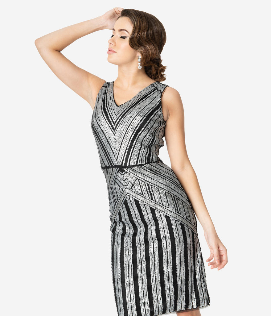 Unique Vintage 1920s Silver Sequin Sleeveless Joanna Cocktail Dress