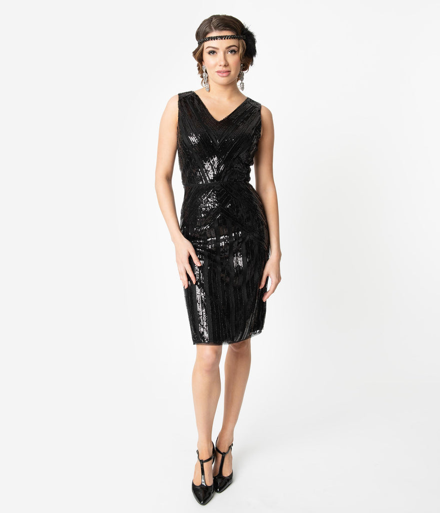 Unique Vintage 1920s Black Sequin Sleeveless Joanna Cocktail Dress
