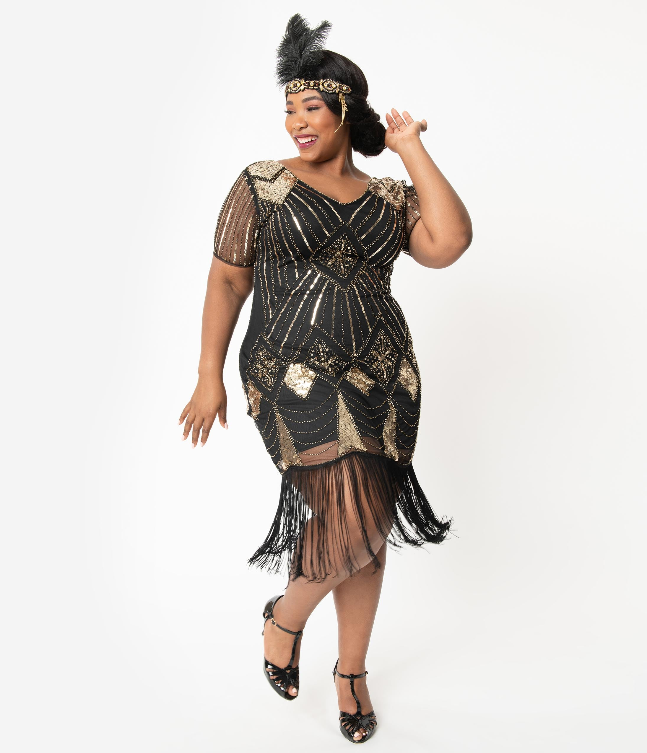 1920s Plus Size Flapper Dresses, Gatsby Dresses, Flapper Costumes Unique Vintage Plus Size 1920S Gold Sequin  Black Fringe Katriane Flapper Dress $98.00 AT vintagedancer.com